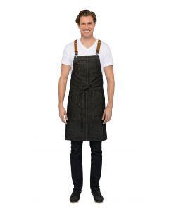 Berkeley Bib Apron: Black Indigo - Culinarily Uniforms