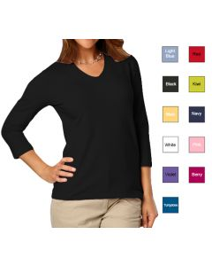 Female 3/4 Sleeve V-Neck T-Shirt -  Hotel Uniforms