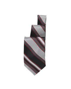 Black/Silver/Burgundy Striped Tie - Hotel Uniforms